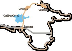 Karta Vukovarsko-srijemske županije